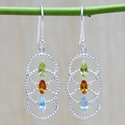 Citrine And Multi Gemstones 925 Sterling Silver Jewelry Earring