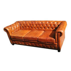 Wooden and Leather Three Seater Chesterfield Sofa