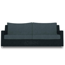 Adorn India Modern Straight Line 3 Seater Sofa (grey & Black)
