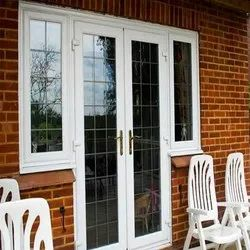 Toughened Glass L Handle UPVC French Door, 4-5 Mm