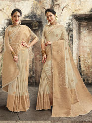 Beige Banarasi Weaving Silk Saree With Blouse Piece