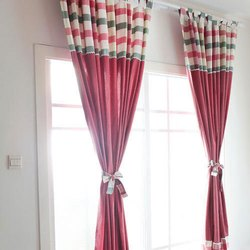 Printed Designer Silk Curtain for Window, Door, Length: 5-8 Feet