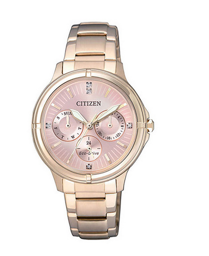 984dc2b2d2 Rose Gold Citizen Eco-Drive Round Analog Pink Dial Ladies Watch, FD2033-52W