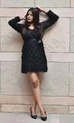 Net Party Wear Black Fur Winter Dress