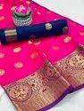 Lichi Silk Saree With Weaving Zari Border
