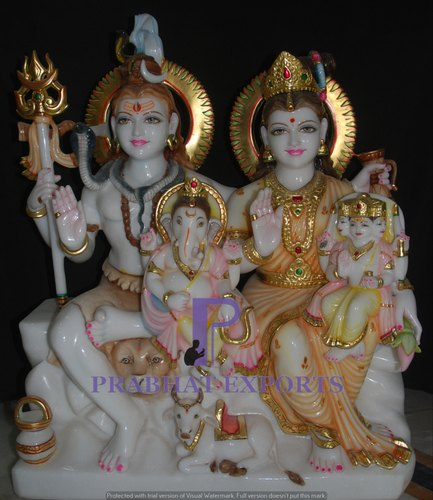 Marble Gauri Shanker Statue With Ganesh And Kartikeya
