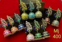 Meenakari Peacock Choker Necklace Set With Earrings