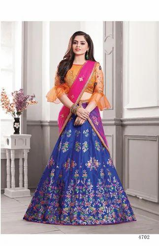 c7a2f0e65f Banarasi Silk Blue & Orange Designer Lehenga Choli, Rs 3180 /unit ...