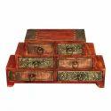 Rawsome Shack Six Drawer Brass Work Wooden Box