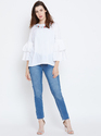 100 % Crepe Women Frill Sleeve Blue Top