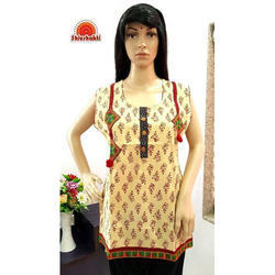 Cotton Sleeveless Printed Traditional Short Kurti