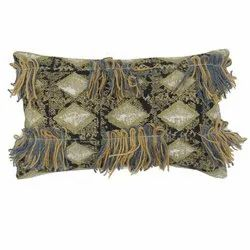 Embroidered Shaggy Decorative Diamond Pattern Cotton Pillow Cover