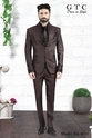 Gtc Embroidered Dark Brown Mens Blazer, 8053
