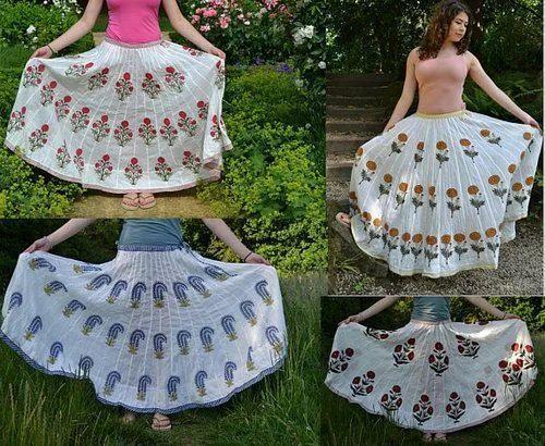 Hand Block Printed Long Skirts