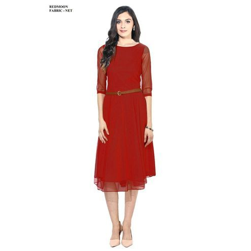 7f6e583ac97 Red Net Plain Tunic Dress, Rs 650 /piece, Shree Creation | ID ...