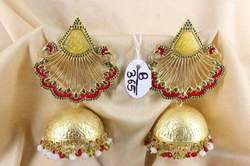 Golden Jhumka With Carving Stone Tops