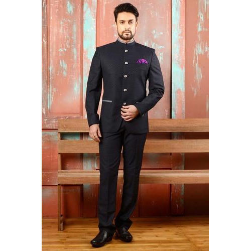Black Full Sleeve Men S Jodhpuri Suit