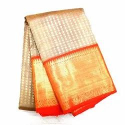 Multicolor Silk Kanchipuram Bridal Sarees with Blouse Piece, Length: 6.3 meter