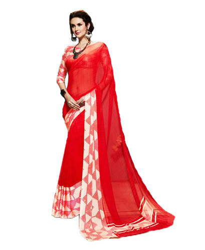 1d90fe6f75 Chiffon Bright Red & Off-White Printed Party Wear Saree, Rs 1200 ...