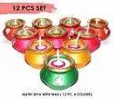 12 Pcs Set Of Matki Diyas With Wax For Diwali Deepawali Gift Decoration