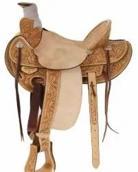 Natural Leather Western Saddle Hand Carved