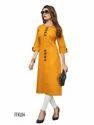 Cotton 3/4th Sleeve Orange Party Wear Kurti, Size: L
