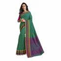Green Color Chanderi Banarasi Cotton Weaving Sari With Blouse Piece