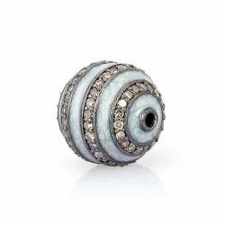 Silver Enamel Ball Bead Findings