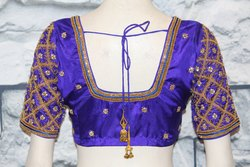 Bead Work Checked Bridal Blouse