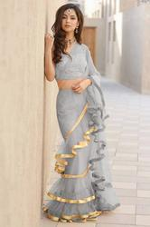 Designer Beautiful  Plan Ruffle Saree