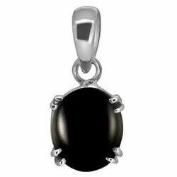 Black Onyx Crystal Pendant Silver Gemstone