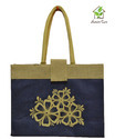 Jute Tesco Style Shopping Bag With One Colored Logo Printing