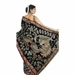 Black Pure Cotton Pen Kalamkari Saree, 6.3 m (with blouse piece)