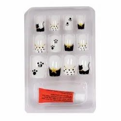 Bonjour Paris False Nails - Quick Stick Artificial Nail Set with Glue, 12 pc Set - 01