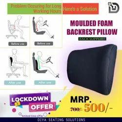 Diya Black Moulded Foam Backrest Pillow, For Made for every seat, Shape: Rectangular