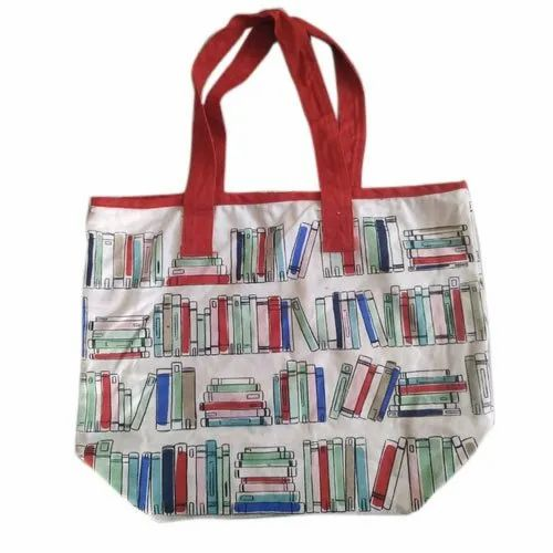 Multicolor Ladies Cotton Hand Bags, For Shopping, Bag Size: 10x12""
