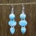 Larimar Gemstone Handmade Earrings 925 Sterling Silver Jewelry