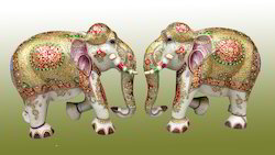 Colorful Marble Elephant Pair