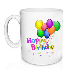 White Ceramic Happy Birthday Mug, for Office