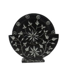 Black Soapstone  Coaster Set With Flower Design