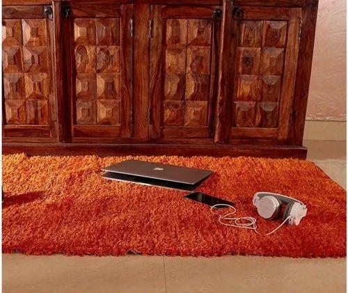 Indian Handloom Silk Touch Rug, Reversible Fur Shaggy