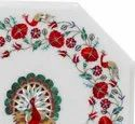 Floral Design White Marble Stone Inlay Dining Table Top