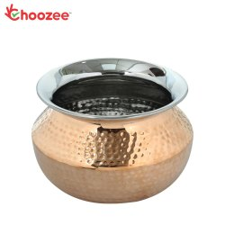 Choozee - Steel Copper Punjabi Serving Handi Bowl (800 ml)