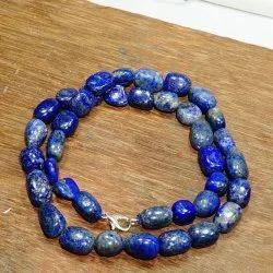 Royal Blue Lapis Lazuli Smooth Tumble Necklace, Box