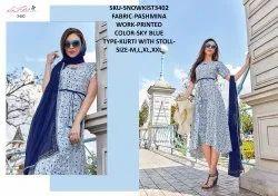 Rachna Twill Silk Pattern Cut Kurti With Stole Catalog Kurti For Women 2