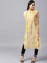 Yellow & Black Hand Block Printed Straight Kurta