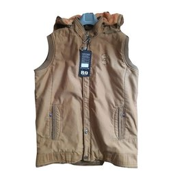 Mens Cotton Sleeveless Hooded Jacket