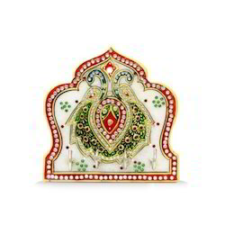 Marble Kalash Double Peecock 3 Key Holder