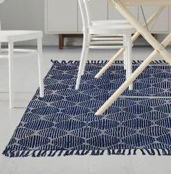 Blue Indigo Cotton Area Accent Dhurrie Rug Woven Boho Indian Bohemian Rug