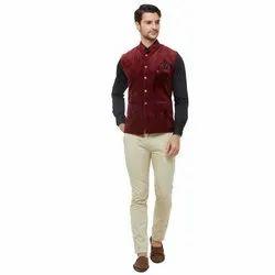 Maroon Velvet Readymade Modi Jacket